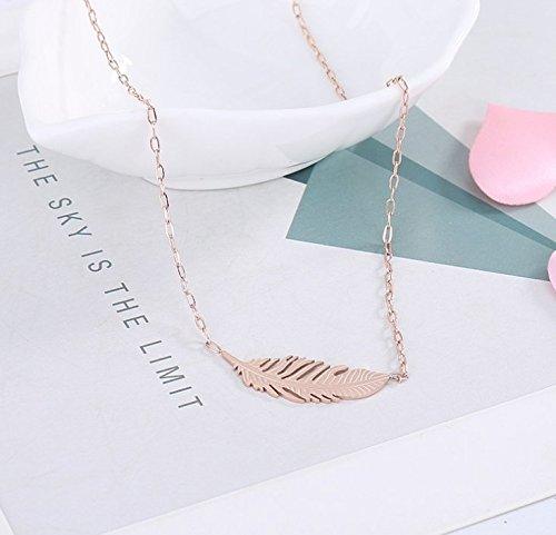 蓝诗诺微給食の創意項の女神のネックレスのバラ金ファッションスマート木の葉、中間飾チタニウム钢のネックレス女卸