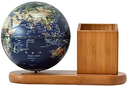 Que Globe de Bureau de Carte du Monde Avec Globe de géographie en Plastique illuminé Avec Porte-stylo/Support, décor de Table d'édition de Base en Bois jouet éducatif pour Enfant Globe de BU