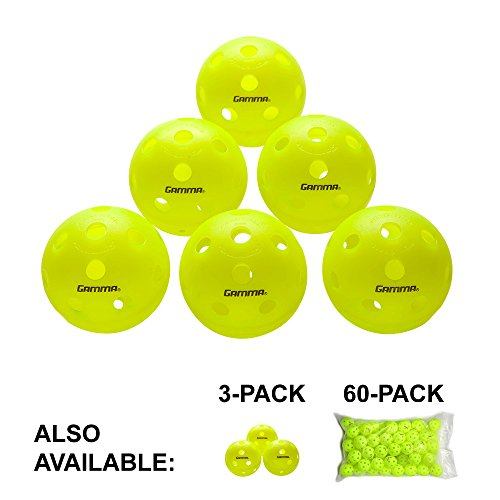 Gamma Sports Photon Indoor Pickleballs, High-Vis Optic Green USAPA Approved Pickleball Balls (6 Pack)