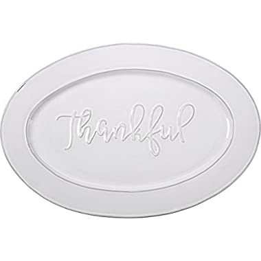 Bountiful Blessings by Precious Moments 179009 Thankful Ceramic Serving Platter, White, 18-inches by 12-inches
