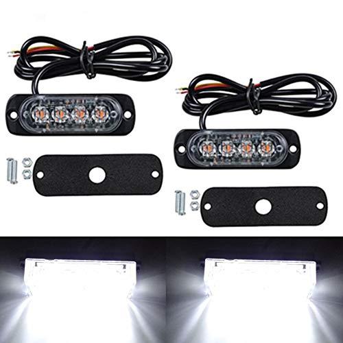 2pcs 4 LEDs Feux de Pénétration Camion 12W Eclairage Clignotant à 19 Modes Fixation à vis IPX4 pour Voiture Camion véhicule SUV DC 12-24V (Blanc)