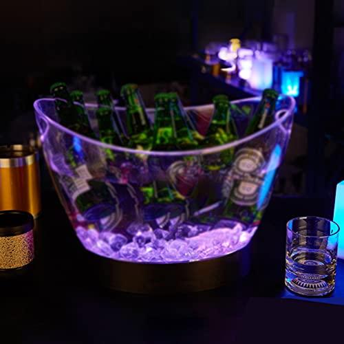 Cubitera de Acrílico, con Base, Cubitera Hielo de Vino de Gran Capacidad de 12 L, Luces de Colores Cubiteras para Hielo Puede Cambiar 7 Colores, para Fiesta/Hogar/Bar