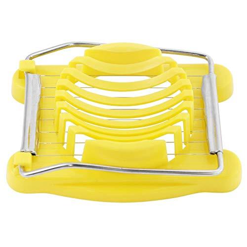 3 in 1 Multifunctionele Kunststof RVS draden Gekookte Eieren Slicer Tool Aardbei Cutter Paddestoel Kaas Salade Boter Slicer -Geel