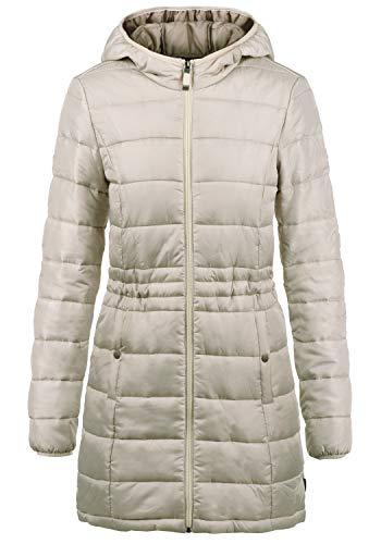 VERO MODA Palina Damen Steppmantel Übergangsmantel Lange Jacke gefüttert mit Kapuze, Größe:M, Farbe:Oatmeal