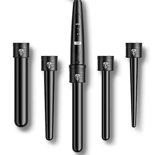 Rizador Pelo Planchas Rizadoras Profesional Pantalla LCD Tenacillas Temperatura Ajustable Ceramica Muitifunción 5 en 1 con Barras Recambiable Rizador de Pelo