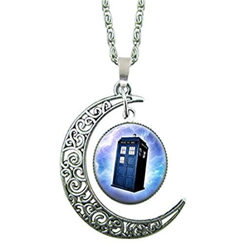 yichahu Doctor Who Telephone Booth Pendant Glass Cabochon Necklace Choker Necklace Woodland Jewelry Christmas (1)