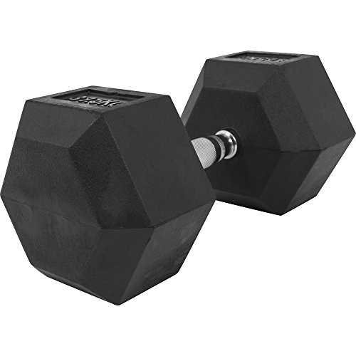 GORILLA SPORTS Hexagon Gummi Studio Hantel 2-50 KG | Gummi Beschichtung | Chrom Griff Farbe 37,5 KG