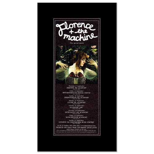 FLORENCE AND THE MACHINE - UK Tour Sept 2009 Matted Mini Poster - 28.5x10cm