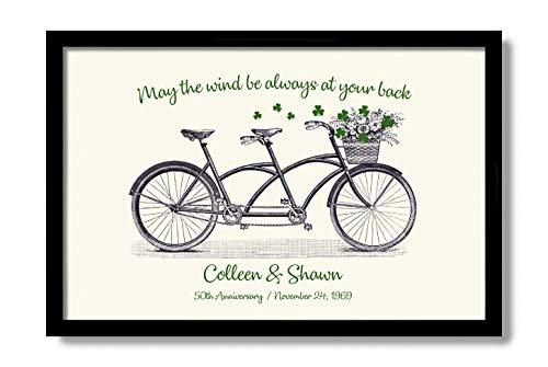 Ierse 50e verjaardag geschenken Shamrock Decor gepersonaliseerde verjaardag geschenk Ierse spreekwoord afdrukken Tandem Bike Wall Art Ierse zegenende teken