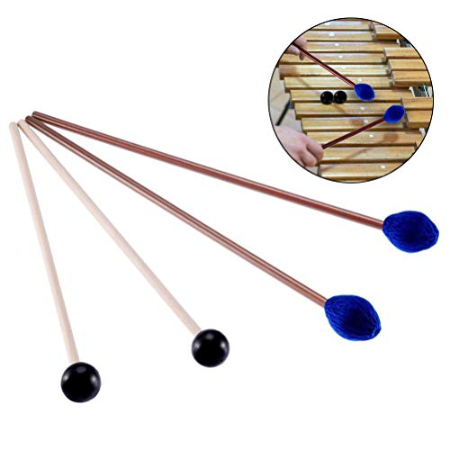 Frienda 1 Pair Medium Hard Yarn Head Keyboard Marimba Mallets with Maple Handles Blue