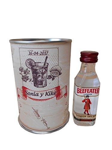 Botellin miniatura Ginebra Beefeater en lata personalizada - Pack de 6