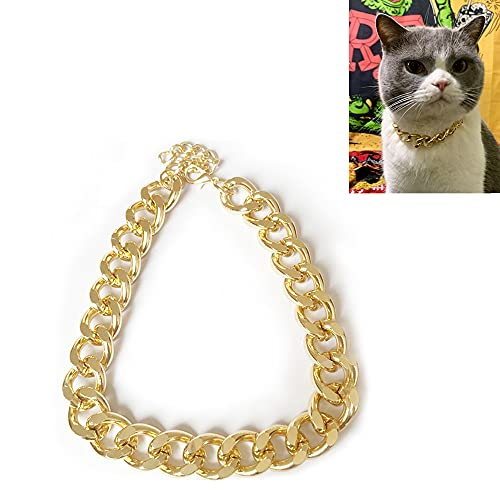 Verstellbares Halsband für Hunde und Katzen, Speyang Haustierkragen Goldener Bulldogge, Hund Bully Kettenhalsband Gold, Haustier Halskette Zubehör, Hunde Halskette für Kleine Mittel Hunde (27 cm)