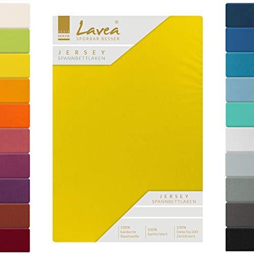 Lavea Jersey Spannbettlaken, Spannbetttuch, Serie Maya, 180x200cm | 200x200cm, Sonnengelb, 100% Baumwolle, hochwertige Verarbeitung, mit Gummizug