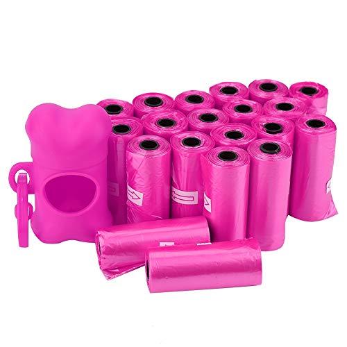 20 Rotoli Sacchetti di rifiuti per Cani Pet in plastica Spessa e Robusta Borsa per Cani Cacca Borsa per la Pulizia dei rifiuti con Porta Dispenser a Forma di Osso(Rosa)