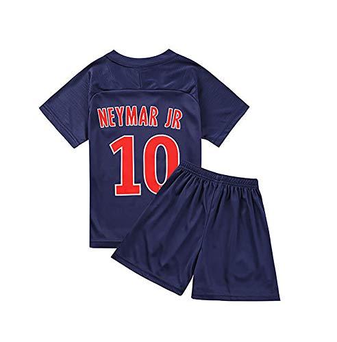 Traje de fútbol para niños para Neymar 10# Mbappé 10# Traje de fútbol de Verano Traje de Fibra de poliéster cómodo y Transpirable niños