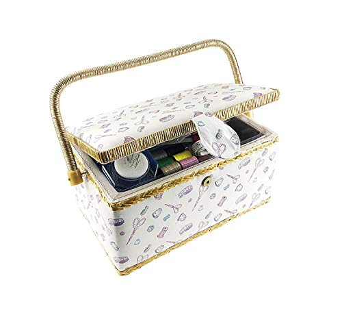 "Classic Fabric Design Sewing Basket with Sewing Kit Accessories by Smartek, Sewing Box Organizer and Storage with Removable Tray, Built-in Pin Cushion (Large 10.8"" x 6.6"")"