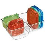 mDesign panier de rangement avec 3 compartiments – boîte de rangement pour couvercle en plastique – casier de rangement – transparent