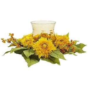 """Silk Flower Arrangements Nearly Natural 4905 Golden Sunflower Candelabrum, Yellow,12"""" x 12"""" x 8.5"""""""