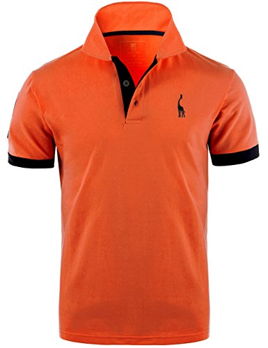 GLESTORE Herren Poloshirt Einfarbig Basic Kurzarm Polohemd T1-Orange L