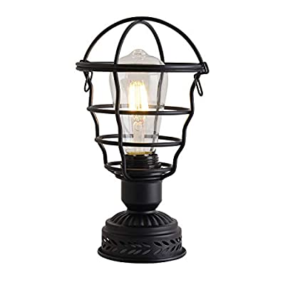 """MaglandIndustrial Table Lamp 10 1/2"""" High, Vintage Desk Antique Lamp, Small Lamps with Safety Metal Cage Shade for Bedside, Nightstand, Coffee Table,Hallway Decor,Black"""
