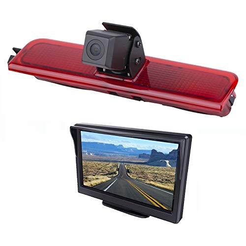 """HD 720p Dachkante Einparkhilfe Rückfahrkamera integriert in 3. Bremsleuchte Kamera für VW Caddy (2003-2014) + 5.0\"""" Zoll DVD Monitor TFT Bildschirm LKW KFZ LCD Display"""