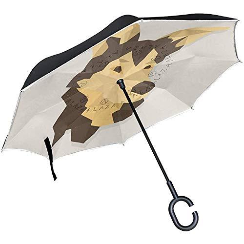 Elxf Paraguas invertido Perro Familia Perros Cesta Paraguas inverso Protección UV A Prueba de Viento para el Coche Lluvia Sol Al Aire Libre Negro