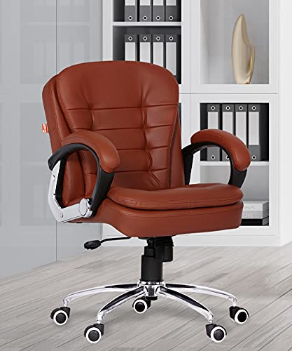 Da URBAN® Milford Mid-Back Swivel Computer Office Chair with Armrests, Ergonomic Leatherette-Padded Desk Chair (Tan)