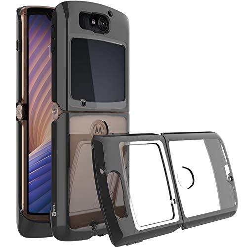 CoverON Slim Cover für Motorola Razr (2020) Handyhülle, kristallklar, leicht, harte Rückseite, TPU schwarz Bumper
