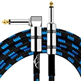 EastRock 1/4 inch Guitar Instrument Cable 10 ft Right Angle to Straight Tweed Cloth Jacket Guitar Cable Input for Electric Guitar, Bass, Amp, Keyboard, Mandolin, Mixing Desks (10 Foot Blue)