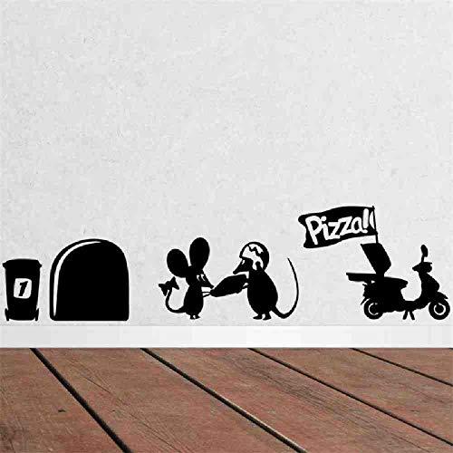 JPDP Mooie Leuke Kleine Ratten Muis Gat Pizza Voedsel Home Sticker Muurstickers voor Kids Kamers Adesivo De Parede Kleuterschool Keuken Decor