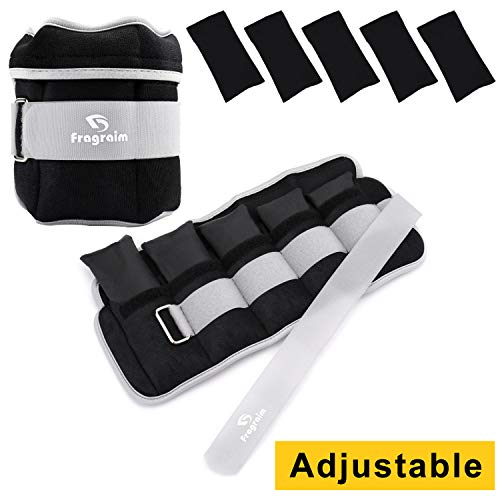 Fragraim Adjustable Ankle Weights 1-12 LBS Pair with Removable Weight for Jogging, Gymnastics, Aerobics, Physical Therapy, Resistance Training 1.2-6 lbs Each Pack, 2 Pack, Grey