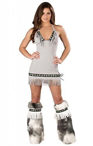 Sexy Ice Eskimo Faux Suede Fringe Dress Halloween Costume Grey
