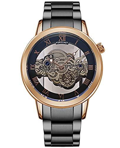 CHXISHOP Reloj para hombre Hollow Tourbillon Ultra-delgado Reloj automático Pareja Reloj de cuarzo Banda de acero Reloj (correa de reloj se puede ajustar), gris