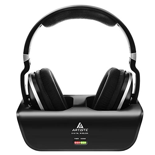 Wireless TV Headphones, Artiste ADH300 2.4GHz Digital Over-Ear Stereo Headphone for TV 100ft Distance Transmitter Charging Dock Rechargeable (Black)