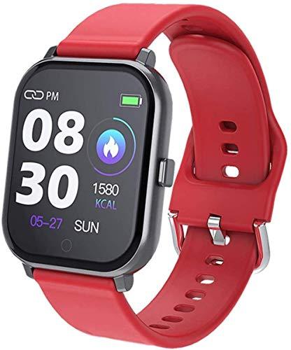 JSL Reloj inteligente de moda para hombre y mujer, pantalla de 1.3 pulgadas, IP67, resistente al agua, podómetro, pulsera con mensaje push recordatorio-rojo
