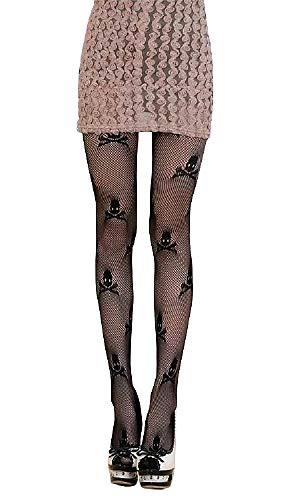Zwarte netkousen met schedels - vrouw - meisje - accessoires - vermomming - halloween - carnaval - steampunk - gothic - cadeau-idee voor kerst en verjaardag - maat m - l dark cosplay