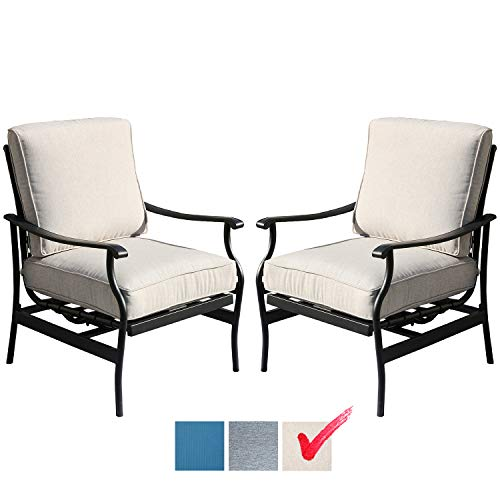 Festival Depot 2 of Outdoor Patio Bistro Armrest Chairs with Cushions Set Premium Fabric Metal Frame Furniture Set Garden Dining Seating Chair Thick & Soft Cushions (Beige)