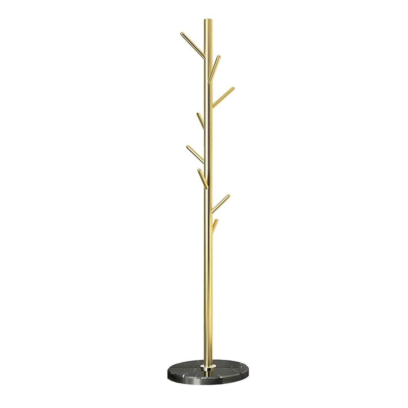 円形の粒育成シンプル 耐久性のある北欧スタイルのメタルコートラックスタンド玄関ホールツリーコートツリーの帽子の帽子の服の財布スカーフハンドバッグ傘 (Color : Gold, Size : 38×38×181cm)