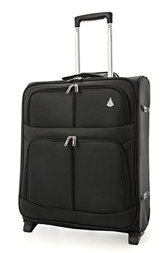 Aerolite easyJet British Airways Maximum Allowance 60L Lightweight 2 Wheel Travel Carry On Hand Cabin Luggage Suitcase 56x45x25 Black
