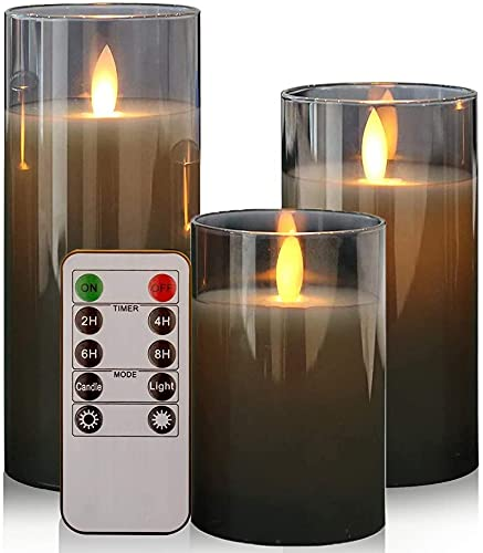 GenSwin Battery Operated LED Flameless Flickering Candles with 10-Key Remote Control, Moving Wick Pillar Glass Candles Real Wax for Festival Wedding Christmas Home Party Decor(Pack of 3, Gray)