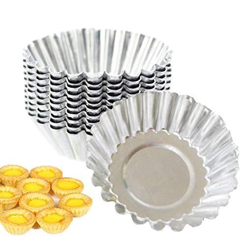 Hooshion 12 Pack Egg Tart Mold Stainless Steel Cupcake Baking Mold Reusable Metal Muffin Baking Cups Fruit Tart Molds Tartlets Pie Pans Tins
