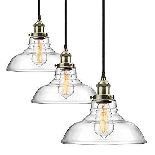 3-pack Pro 1-lampa industriell Edison vintage hänglampa, höjd justerbar hängande lampa i glas, antik borstad mässing E27-sockel, perfekt för kök, matsal, taklampa ljuskrona fixture