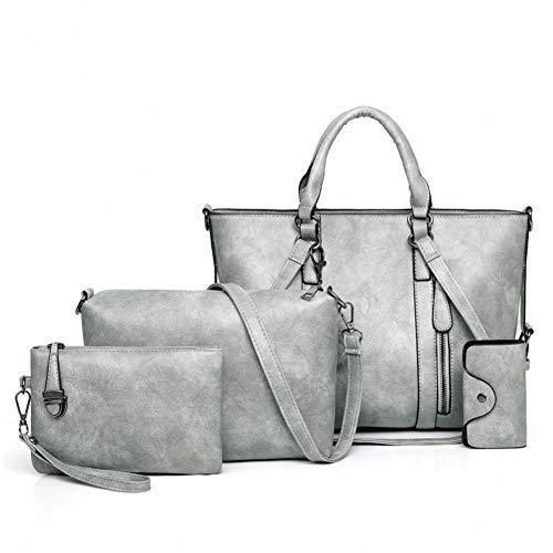 PCBDFQ dames handtas en handtassen 4-delige set schoudertas voor dames 2019 grote tas van leer beroemde merk