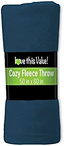 Imperial 50 x 60 Inch Ultra Soft Fleece Throw Blanket - Navy Blue