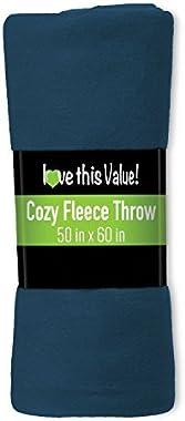 Imperial 50 x 60 Inch Ultra Soft Fleece Throw Blanket - Navy Blue