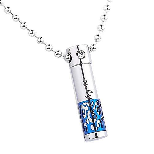 WSXEDC Collar De Cenizas,Urna De Cremación Joyería Azul Hueco Tallado En Forma De Cilindro Colgante Cenizas O Muestra De Cabello Soporte De Recuerdo Medallón Conmemorativo para Unisex, 7 X 29 Mm