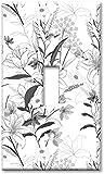 Piastra di copertura della luce notturna dell'interruttore della luce 1 piastra da parete a levetta di gruppo - Linea arte floreale in scala di grigi