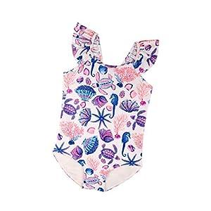 子供水着 女児 女の子 ガールズ ベビー キッズ 海水浴水泳 ワンピース水着 ビーチ 温泉 かわいい 夏 (90(3-4歳), 白い貝殻)