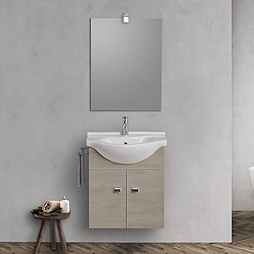 Mobile bagno sospeso 55 cm Salvaspazio compatto, INCLUDE lavabo in ceramica specchio e lampada led (Rovere Grigio)