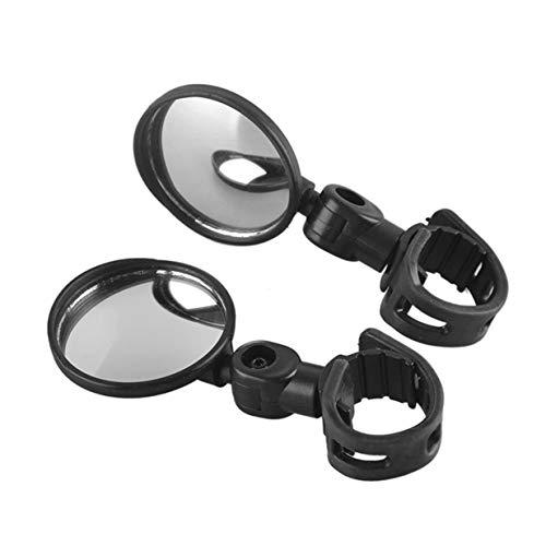 Sairis Bike Manubrio Bici Specchietto retrovisore Rotazione a 360 Gradi Flessibile grandangolo Specchio Convesso Ciclismo Sicuro Vista Laterale Specchio-Nero